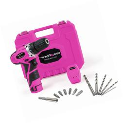 Pink Power PP121LI 12V Cordless Drill & Driver Tool Kit for