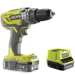 Ryobi R18PD3 18V ONE+ Hammer Drill, 2.0 Ah Battery and Charg