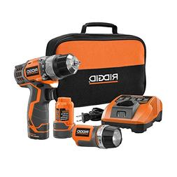 Ridgid R92009 12-Volt 3/8 in. Cordless 2-Speed Drill and Fla