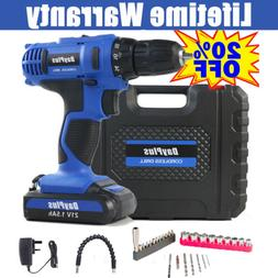 Rechargeable Electric Cordless Drill Driver with Bits Case S