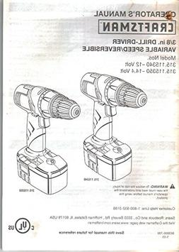 Sears Craftsman Cordless Drill-Driver, Owner's Manual Instru