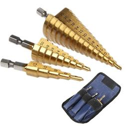 Kangnice 3Pcs Set Steel Titanium Nitride Coated Step Drill B