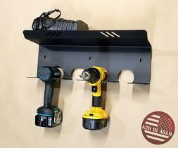 Heavy Duty Drill & Battery Charger Holder Rack Storage for
